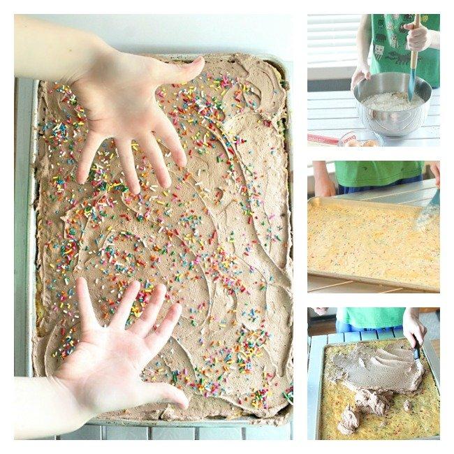 Funfetti Sheet Cake with Chocolate Buttercream Frosting- Table for Seven #tableforsevenblog #funfetti #sheetcake #dessert