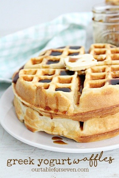 Greek Yogurt Waffles #greekyogurt #waffles #breakfast #brunch #tableforsevenblog
