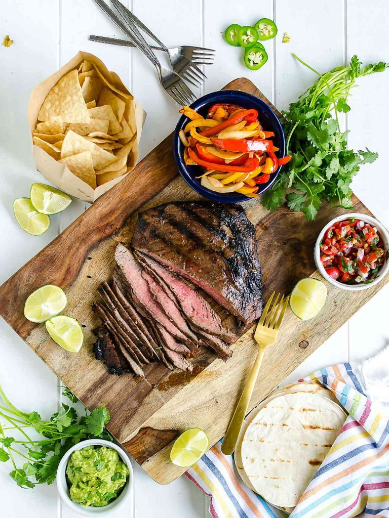 Grilled Flank Steak Fajitas @artfrommytable #steak #flanksteak #fajitas #dinner