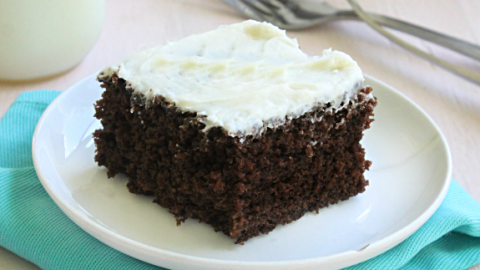 Hershey''s Chocolate Cake with Buttercream Frosting #chocolatecake #cake #dessert #hersheyschocolate #tableforsevenblog