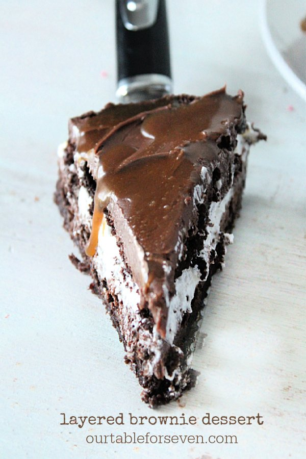 Layered Brownie Dessert- Table for Seven #tableforsevenblog #brownies #dessert #layered #chocolate