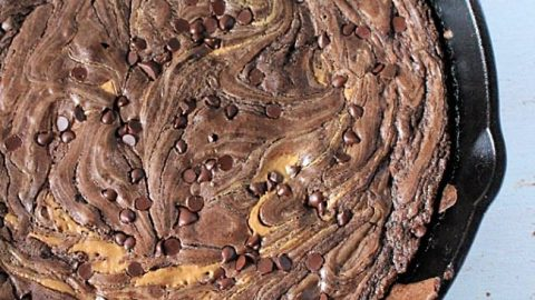 Peanut Butter Swirled Skillet Brownies- Table for Seven #tableforsevenblog #skillet #ironskillet #peanutbutter #dessert #chocolate #brownies