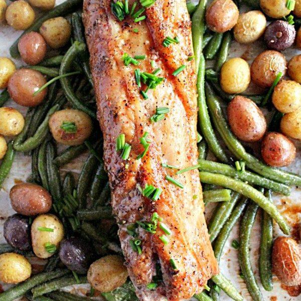 Pork Tenderloin Sheet Pan Dinner- Table for Seven #tableforsevenblog #porktenderloin #sheetpan #dinner #greenbeans #potatoes #easydinner