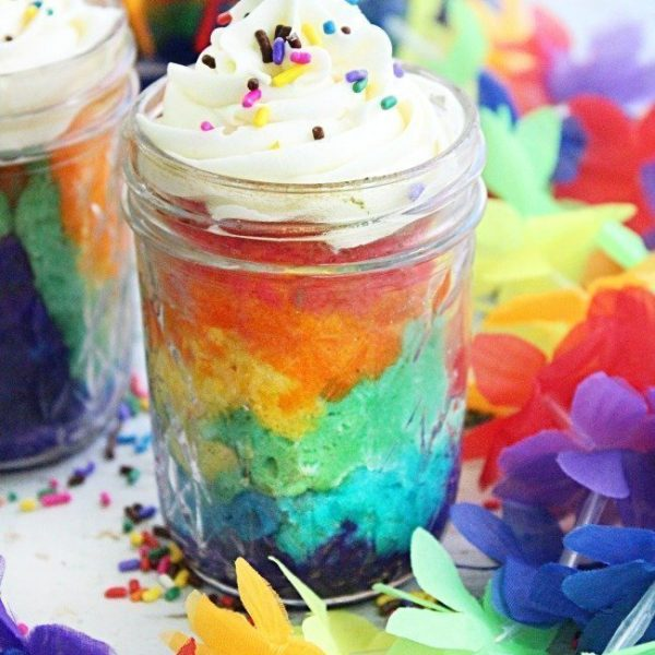Rainbow Cake in a Jar   Table for Seven