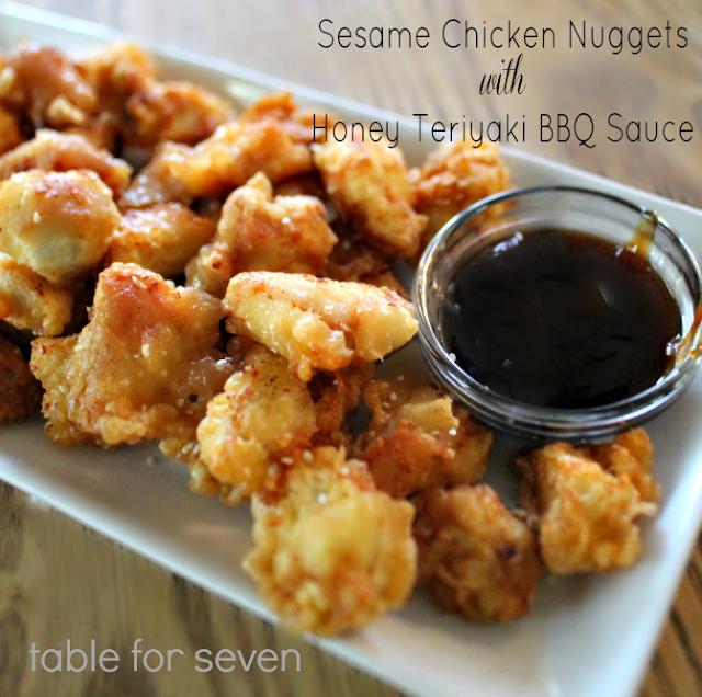 Sesame Chicken Nuggets with Honey Teriyaki BBQ Sauce #chickennuggets #sesame #honeyteriyaki #bbqsauce #chicken #dinner #kidfriendly #tableforsevenblog