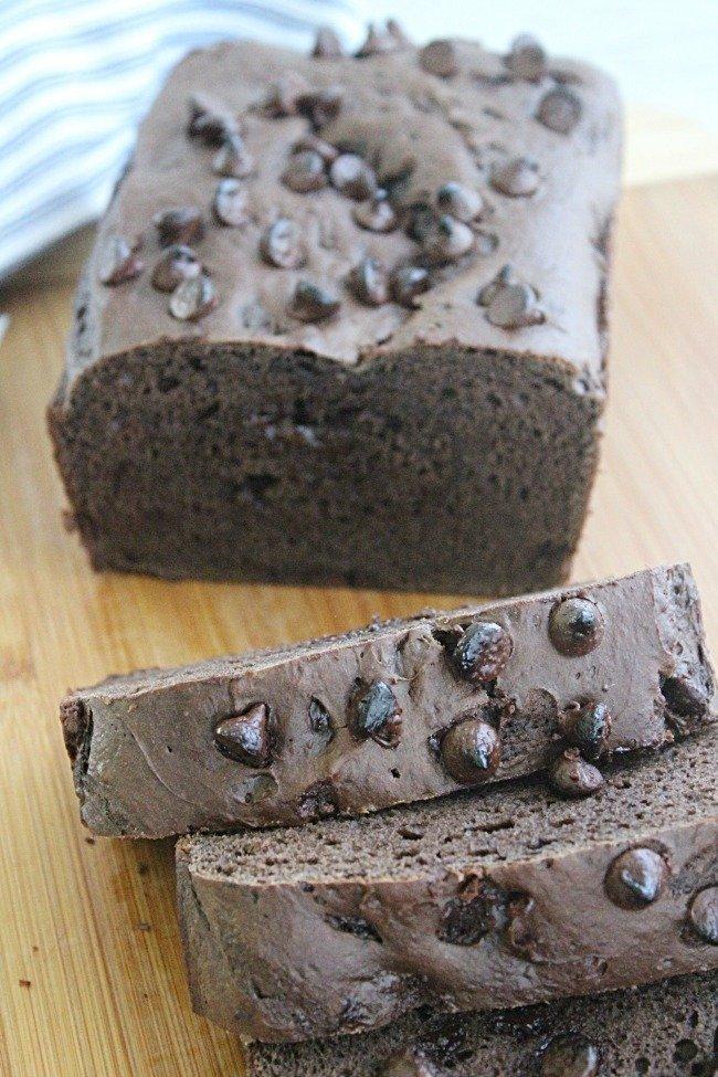 Three Ingredient Chocolate Quick Bread #quickbread #chocolate