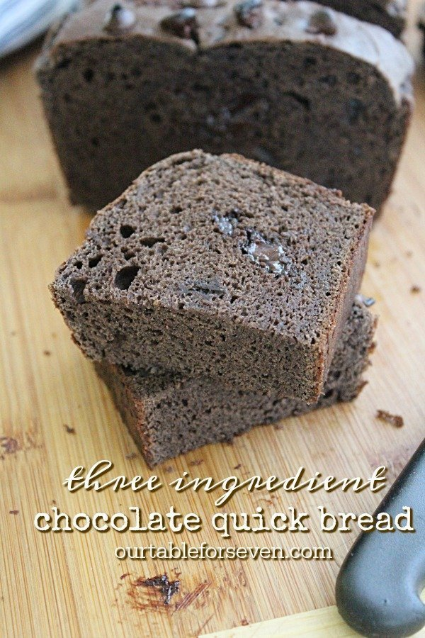Three Ingredient Chocolate Quick Bread #quickbread #chocolate